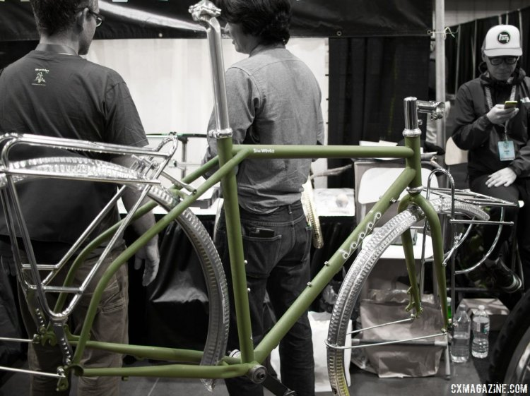 "Doppo means ""walk along"" in Japanese, and Sim Works says the frame is the cycling equivalent. It's built by Japanese frame builder Shin. $1400 for the frameset. NAHBS 2016. © Cyclocross Magazine"