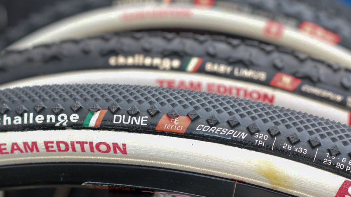 Challenge Tires' new Team Edition Dune features a diamond tread that's almost file-like as well as slight side knobs. © Andrew Yee / Cyclocross Magazine