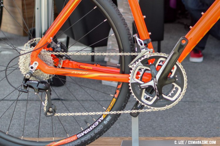 The mechanical Shimano 105 drivetrain mated to an FSA crankset on the Mongoose Soleus Expert. 2016 Sea Otter Classic. © Clifford Lee / Cyclocross Magazine