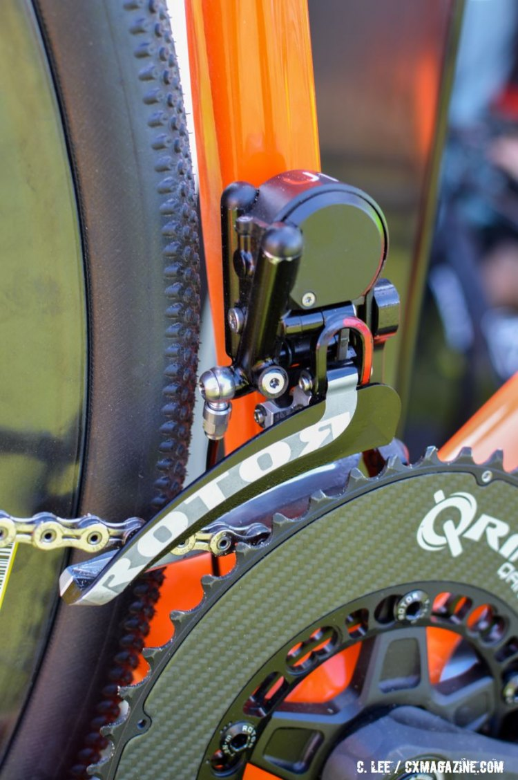Note the banjo on Rotor Uno front derailleur near rear tire. 2016 Sea Otter Classic. © Clifford Lee / Cyclocross Magazine.