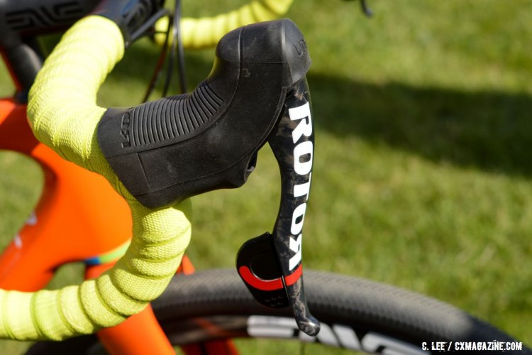 Rotor's single shift lever for both front and rear shifts is similar to SRAM's well-known DoubleTap system. 2016 Sea Otter Classic. © Clifford Lee / Cyclocross Magazine.