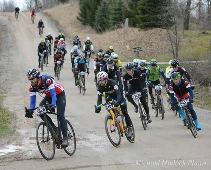 The Men's 57 mile field starts to break apart. The Lowell 50. © Michael Mielock
