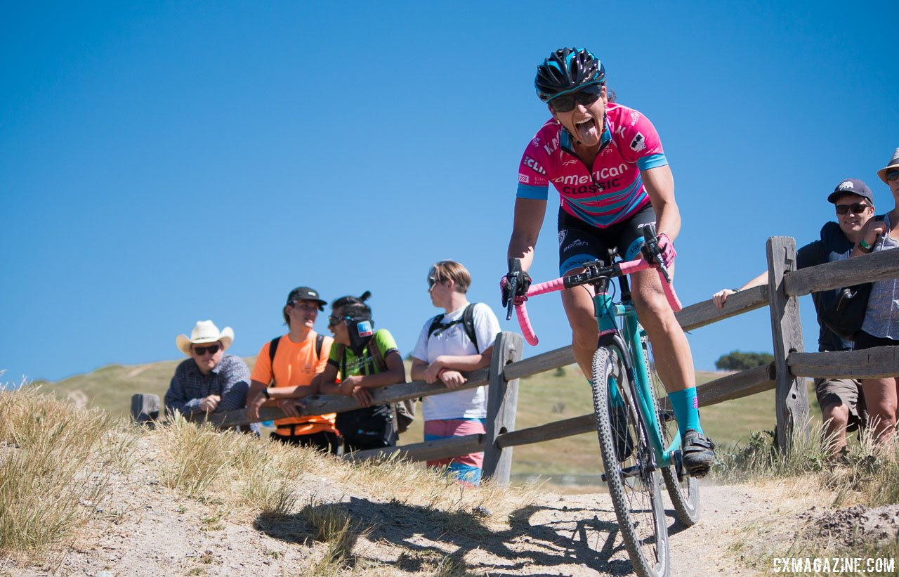 Licking her wounds but swallowing up all competitors except Mani, McFadden overcame a first lap endo to finish second. Sea Otter Classic 2016 Cyclocross Race. © Cyclocross Magazine