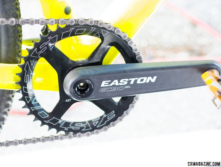 The Easton-brnaded carbon, direct mount mystery crank on Richey's Garneau Steeple XC cyclocross bike. No specific, offical details from Easton on this crankset yet. Sea Otter Classic 2016. © Cyclocross Magazine