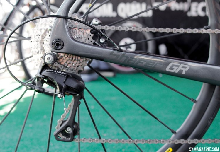 The Shafer is outfitted with a complete Shimano 105 kit. Sea Otter Classic 2016. © Cyclocross Magazine