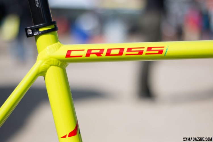 The redesigned for 2017 Fuji Cross 1.1 shaves nearly a quarter pound in frame weight. Sea Otter Classic 2016. © Cyclocross Magazine