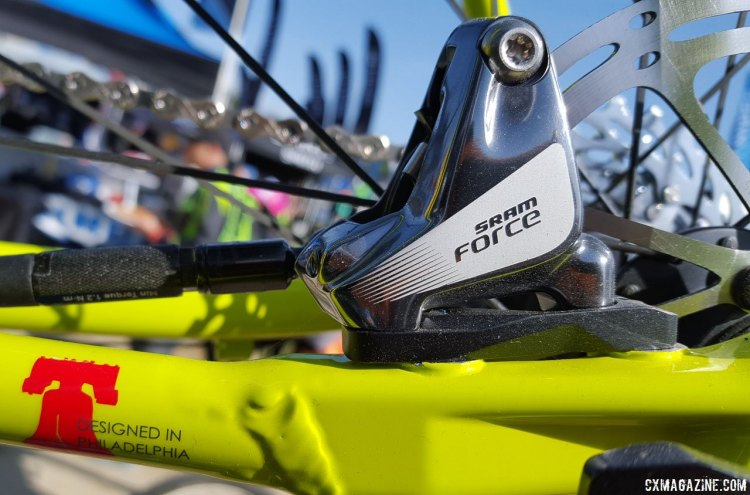 Flat mount disc brake calipers on the 2017 Fuji Cross 1.1 cyclocross bike help keep the weight down. Sea Otter Classic 2016. © Cyclocross Magazine