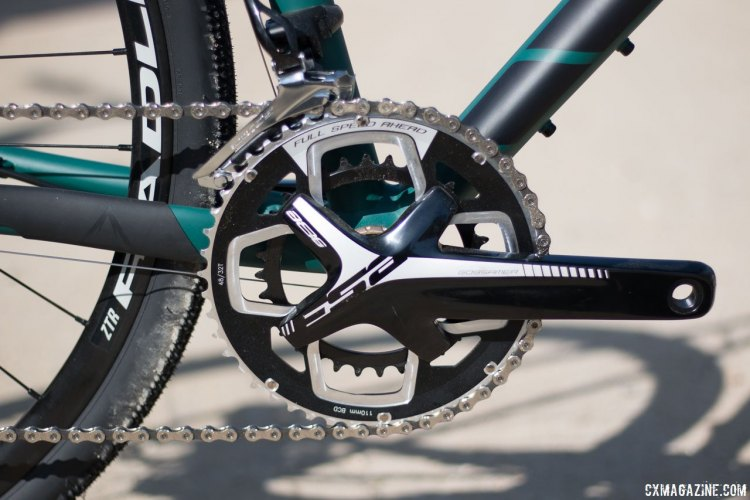 The Fuji Jari 1.3 is equipped with a Shimano 105 drivetrain mated to an FSA crankset. Sea Otter Classic 2016. © Cyclocross Magazine