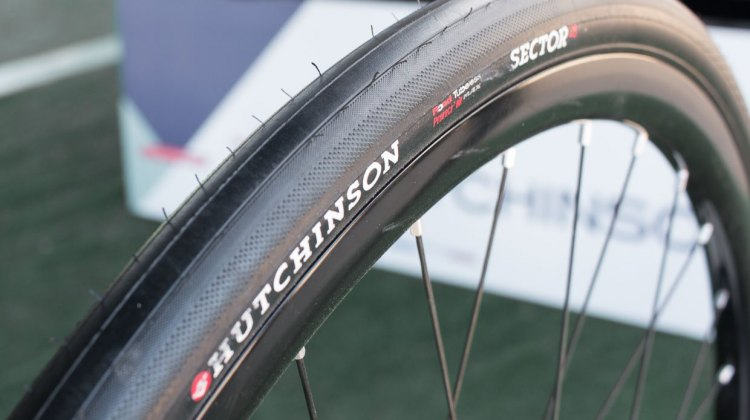 Hutchinson Tire's new Sector 32 Tubeless Ready tire is a good option for riders on rough pavement and hard packed dirt. 2016 Sea Otter Classic. © Andrew Yee / Cyclocross Magazine.