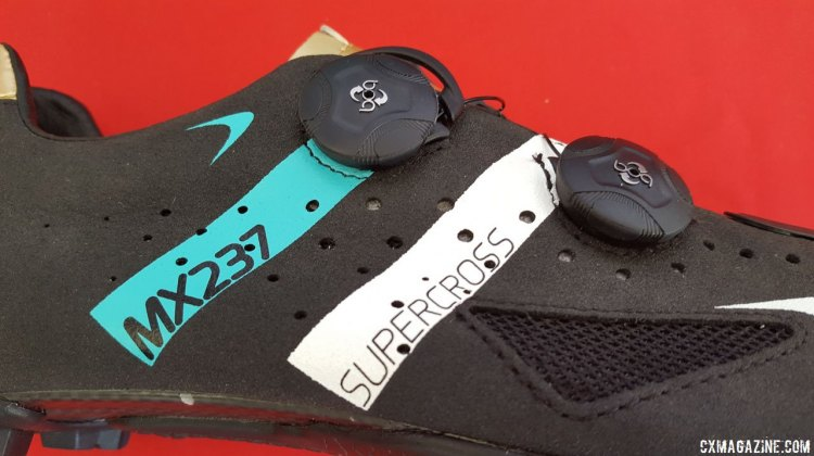 The MX237 Supercross is Lake Cycling's newest cyclocross-oriented shoe, with Helcor, an abrasion-resistant treatment to the leather. Sea Otter Classic 2016. © Cyclocross Magazine