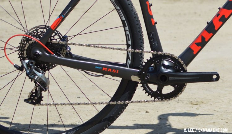The CXRc SRAM Force 1 build bike features an option to run a front deraileur in the event 1x isn't for you. 2016 Sea Otter Classic. © Clifford Lee / Cyclocross Magazine