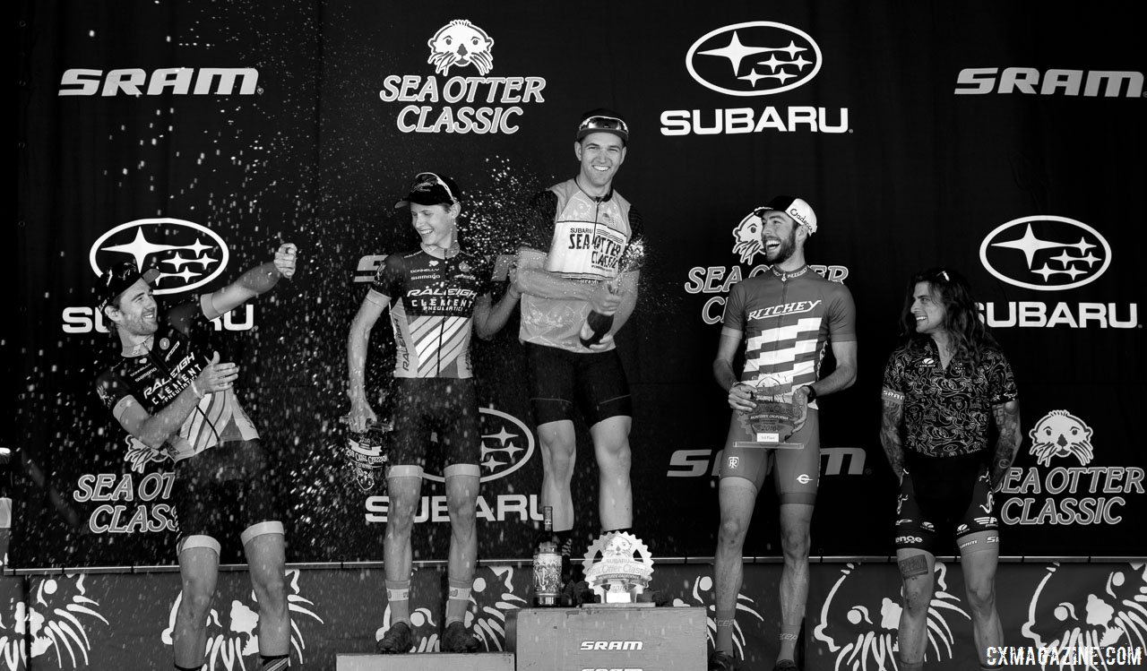 Sea Otter Classic 2016 Cyclocross Race, men's podium, L to R: Driscoll, Haidet, Ortenblad, Frederick, Clark. © Cyclocross Magazine