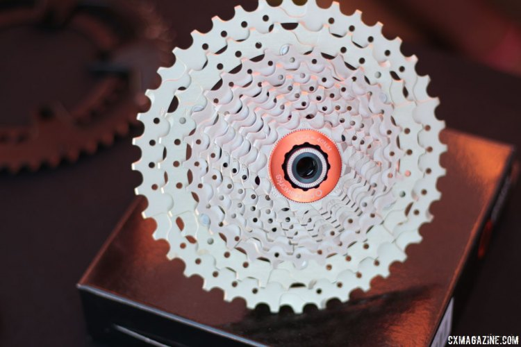 Praxis Works showed off this 11-40 cassette that does not require an XD driver, a good candidate for those looking to go lower on their 'cross bikes for gravel riding. 2016 Sea Otter Classic. © Andrew Yee / Cyclocross Magazine