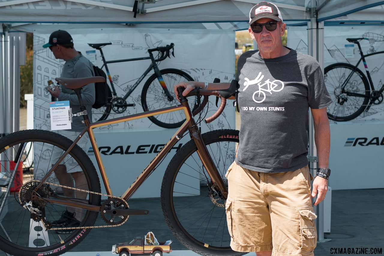 How appropriate. The Stuntman bike attracted this show attendee, who just happened to be wearing this shirt. Raleigh steel Stuntman cyclocross/gravel/stunt disc brake bike. Sea Otter Classic 2016. © Cyclocross Magazine