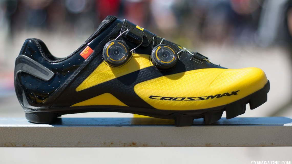 Mavic's new Crossmax SL Ultimate shoe is the company's top cyclocross-oriented offering, with less shoe lugs and the Ergo Dials for fit. Sea Otter Classic 2016. © Cyclocross Magazine
