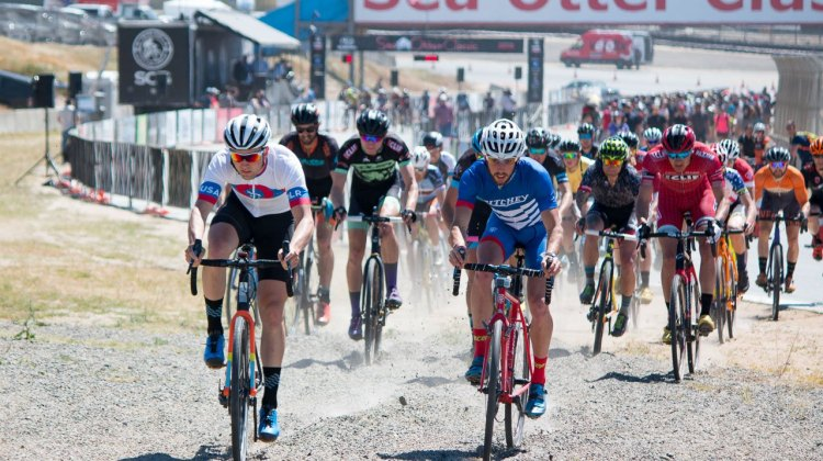 There's gravel racing at Sea Otter, and cyclocross bike work just fine. Ortenblad and Fredrick fight for the lead in the first gravel section. Sea Otter Classic 2016 Cyclocross Race. © Cyclocross Magazine
