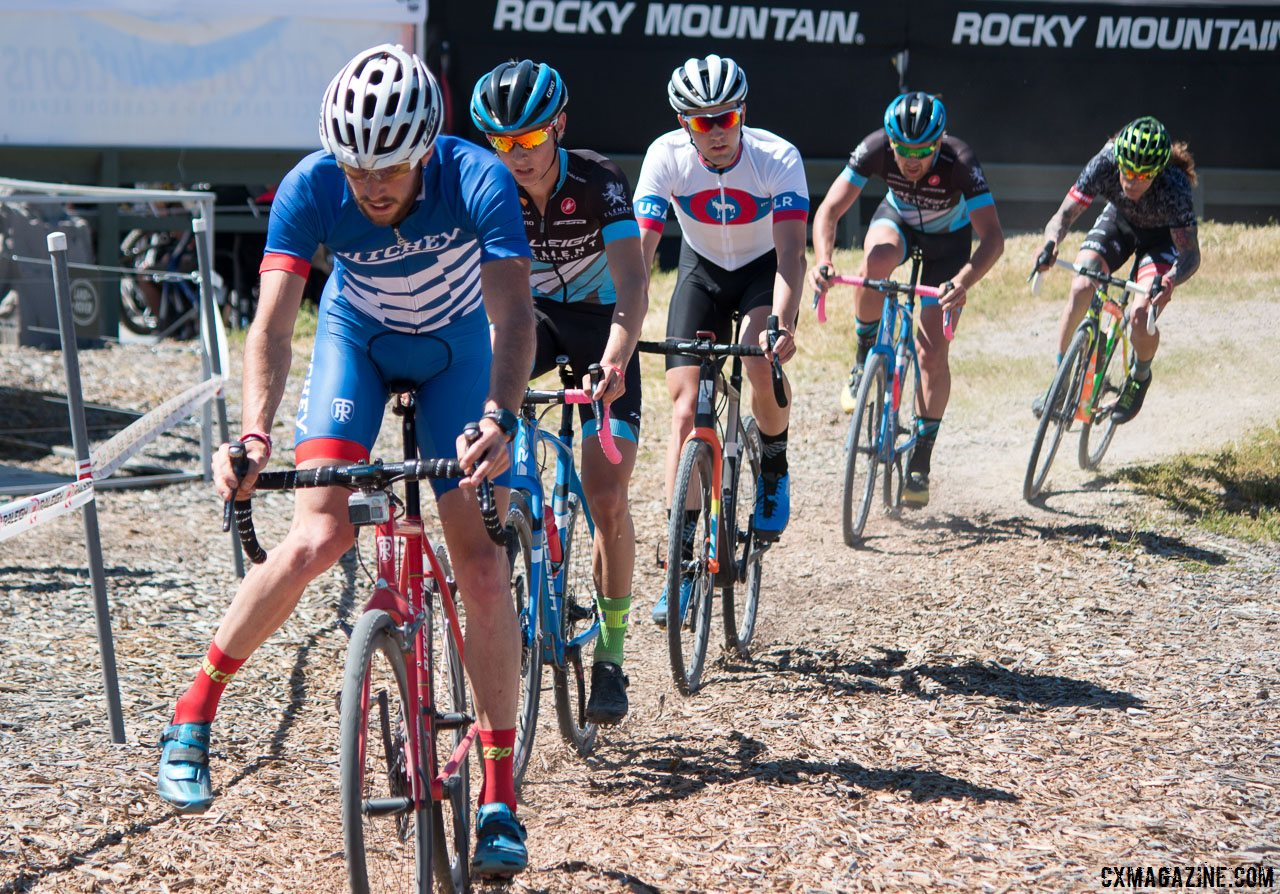 Wondering what could have been: Frederick after he was caught behind lapped traffic, and caught be the chasing four. Sea Otter Classic 2016 Cyclocross Race. © Cyclocross Magazine