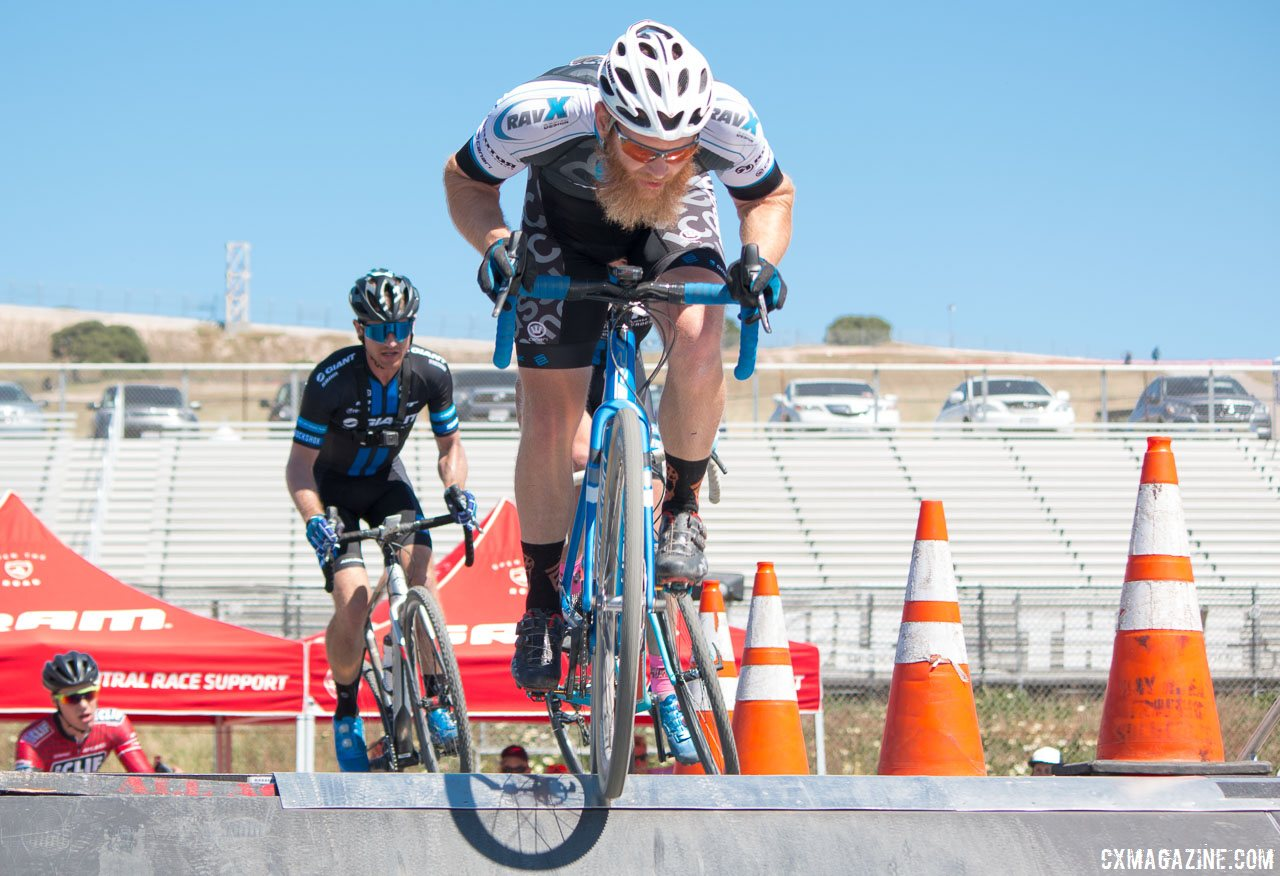 You need muscle in cyclocross, and former football player Robert Marion puts his to good use in racing cyclocross professionally. photo: Sea Otter Classic 2016 Cyclocross Race. © Cyclocross Magazine