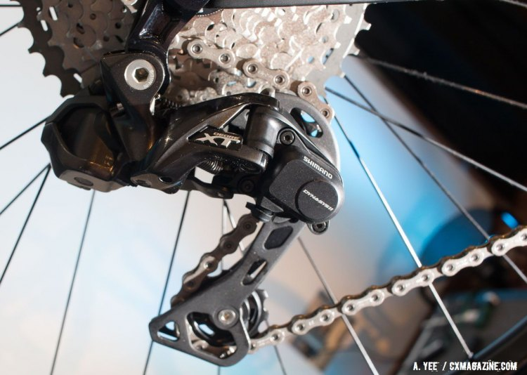 The new Deore Di2 rear derailleur brings wide-rage gearing with electronic shifting to a lower price point. © Andrew Yee / Cyclocross Magazine