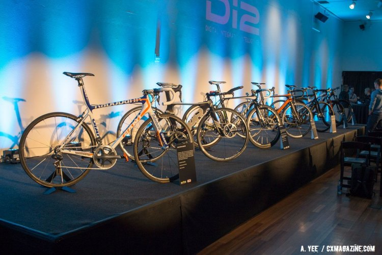 Held at San Jose's Tech Museum, Shimano's Deore XT Di2 launch featured a whole line-up of bikes showing off the company's Di2 history. © Andrew Yee / Cyclocross Magazine