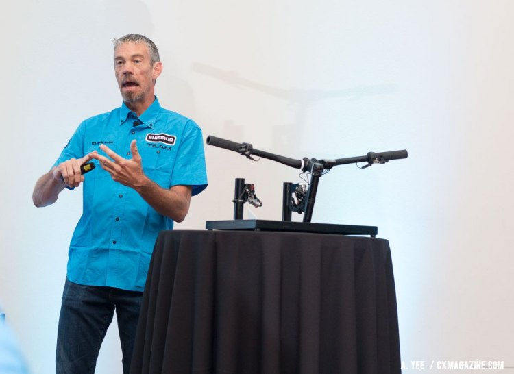 Shimano's Mountain Bike product manager Matt Robertson walks through the new Deore XT 8050 Di2 and Bluetooth Di2 component options. © Andrew Yee / Cyclocross Magazine