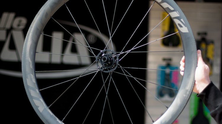 Vittoria now has disc versions of its tubeless and tubular wheelsets. $1999 for 30mm deep, and $2250 for 46mm deep. Sea Otter Classic 2016. © Cyclocross Magazine