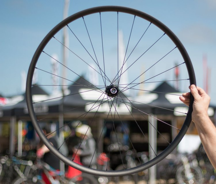 Vittoria also offers alloy rims in its mountain bike lineup, with asymmetrical rims, straight pull spokes, and a Speedlock rim profile to securely hold tubeless tires. Sea Otter Classic 2016. © Cyclocross Magazine