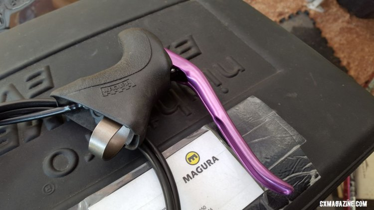 Magura's drop bar levers for hydraulic cantis, complete with purple annodized lever blade. ©️ Cyclocross Magazine