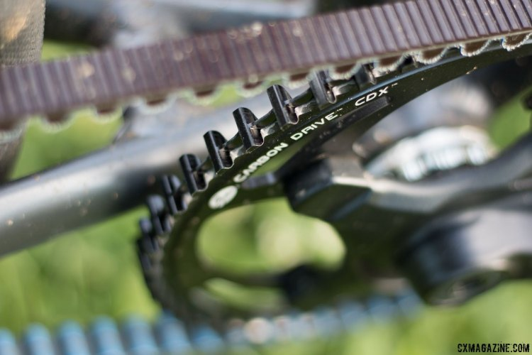 The Gates Carbon Drive offers rust free, lube free quiet performance with the right belt tension. Coastline Cycle Co. The One SSRX 650b bike. © Cyclocross Magazine