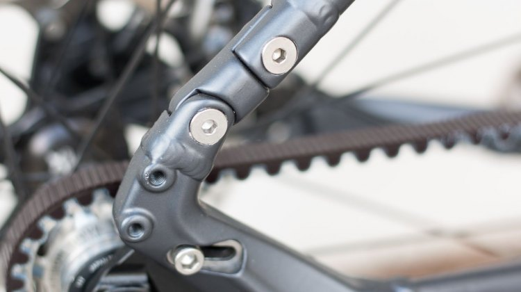 The interrupted seatstay accommodates the Gates Carbon Drive belt, but you can always use a chain. Coastline Cycle Co. The One SSRX 650b bike. © Cyclocross Magazine