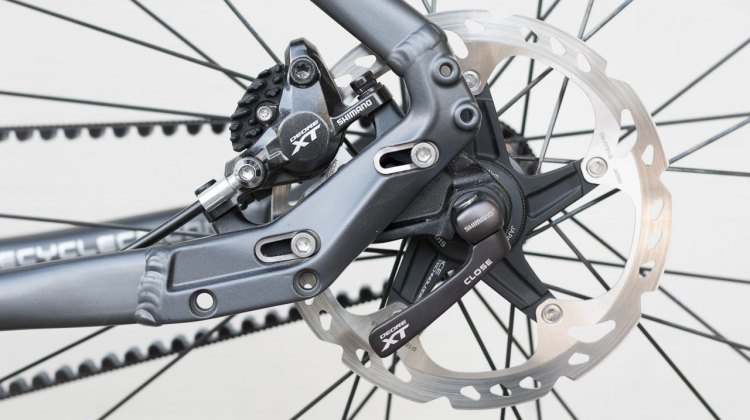 Rack and fender mounts, and adjustable dropouts for belt/chain tension. Coastline Cycle Co. The One SSRX 650b bike. © Cyclocross Magazine