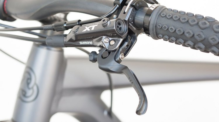Deore XT hydraulic brakes provide powerful stopping. Coastline Cycle Co. The One SSRX 650b bike. © Cyclocross Magazine