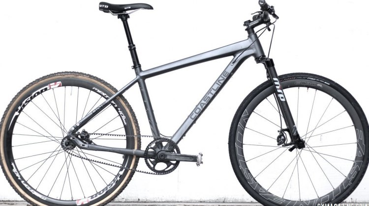 We didn't ride it like this (no belt cog or rotors), but proved the bike has room for 700c wheels and cyclocross tires. Coastline Cycle Co. The One SSRX 650b bike. © Cyclocross Magazine