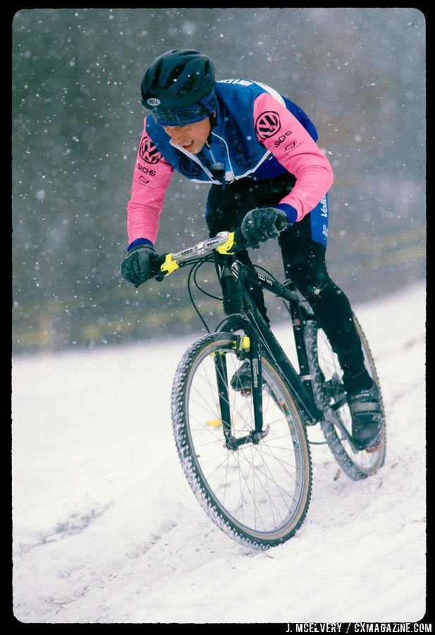 Tim Johnson using Magura's hydraulic rim brakes on his way to the 1995 Junior Cyclocross National Championship in Leicester, MA. © Jonathan McElvery