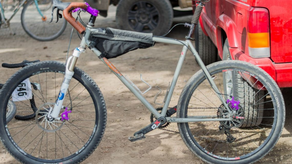 """Soulcraft 26"""" wheeled suspended gravel bike. 2016 Lost & Found. ©️ Clifford Lee / Cyclocross Magazine"""
