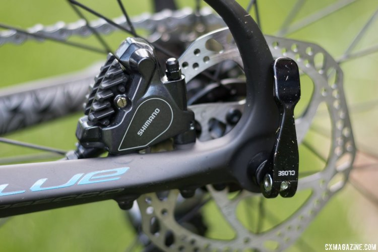 Blue Bicycles Prosecco EX gravel bike features Shimano BR-RS805 flat mount hydraulic disc brake calipers. Press Camp 2016. © Cyclocross Magazine