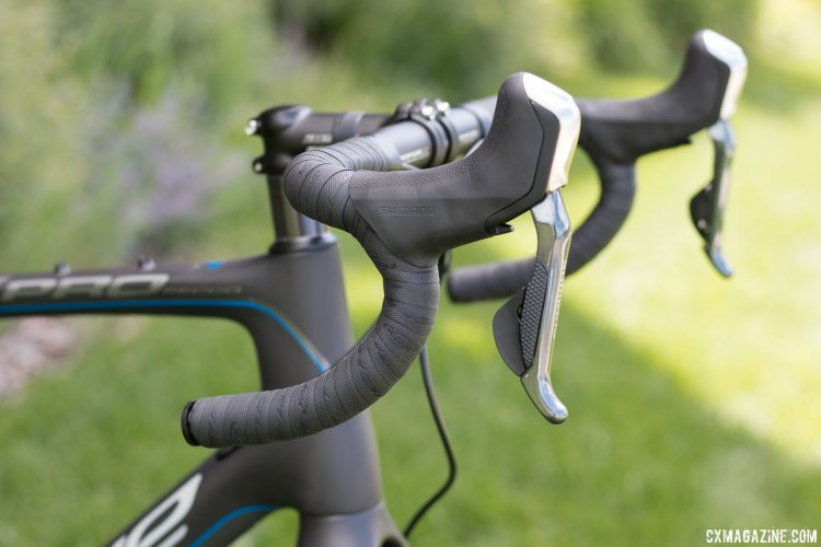 Shimano R785 levers and Ultegra Di2 might make the Blue Bicycles Prosecco EX gravel bike the deal of the year. Blue Bicycles is getting aggressive in gaining back marketshare after a brief hiatus. Press Camp 2016. © Cyclocross Magazine