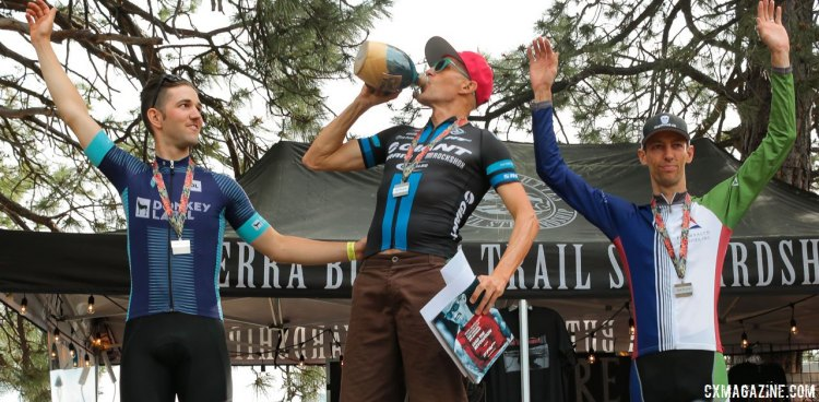 Decker celebrates his win with Ortenblad and Thomas. 2016 Lost and Found Gravel Race. © Cyclocross Magazine