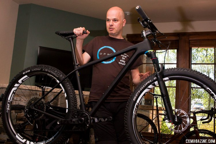 Open Cycle's Gerard Vroomen is also a shareholder in 3T. He walks us through his ONE+ mountain bike hardtail that fits 650b plus tires. © Cyclocross Magazine