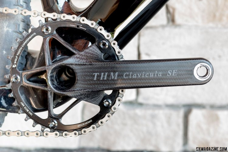 Our 3T Exploro gravel/cyclocross bike featured the ultralight, pricey $1200 THM Carbones Clavicula SE crankset with a 130mm BCD 42t Wolf Tooth Drop Stop chainring. © Cyclocross Magazine