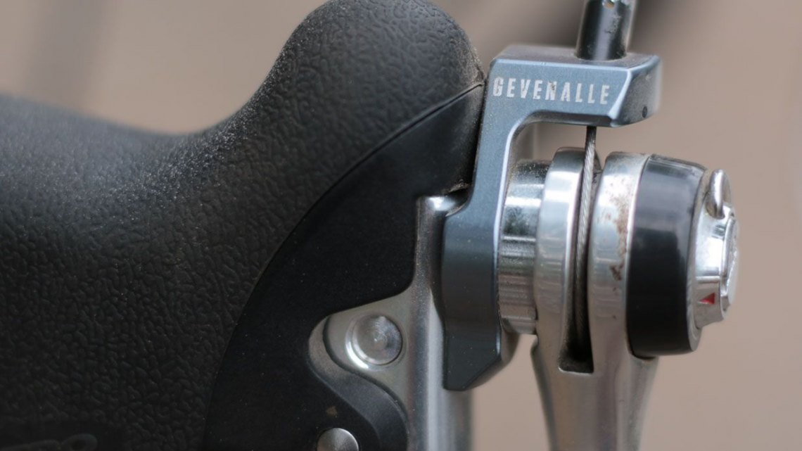 No hidden cables here. Shifter cables are threaded into your existing shift lever and then exit through the top of the Gevenalle Audax modified lever. You can choose between indexed or friction mode on your shift lever. @Cycocross Magazine