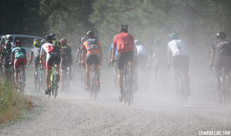 Just rolling out, the dust clouds impacted visibility, and Decker took note. 2016 Lost and Found Gravel Race. © Cyclocross Magazine