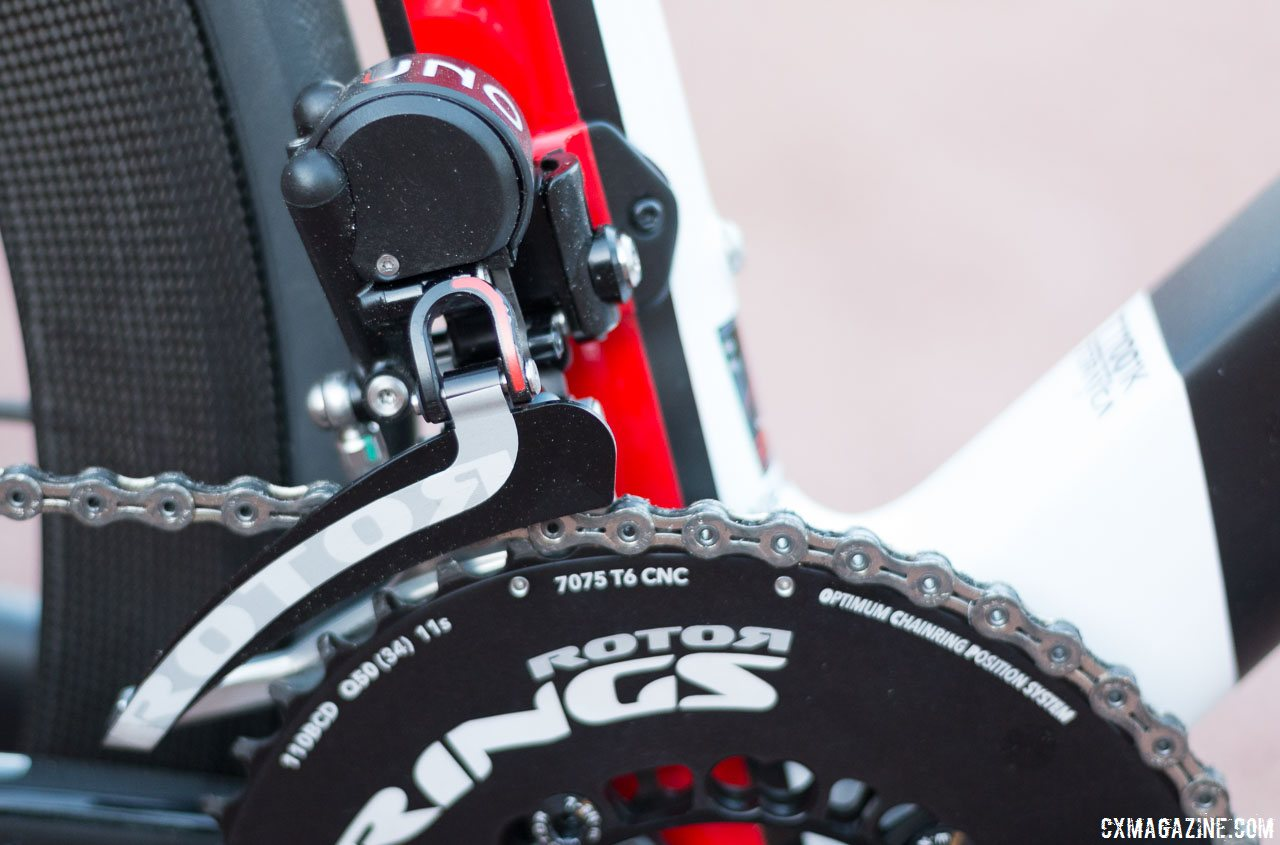 6bdf94d6cc6 Rotor's Uno hydraulic shifting front derailleur shifts through the  company's oval Q-rings and offers