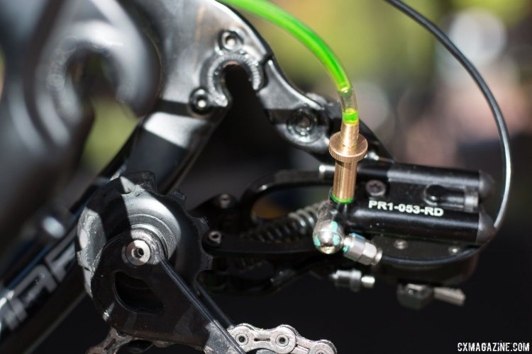 The Uno hydraulic shifting component group from Rotor is a closed hydraulic system, and without a reservoir it should require less bleeding, but getting out all the air is critical. © Cyclocross Magazine