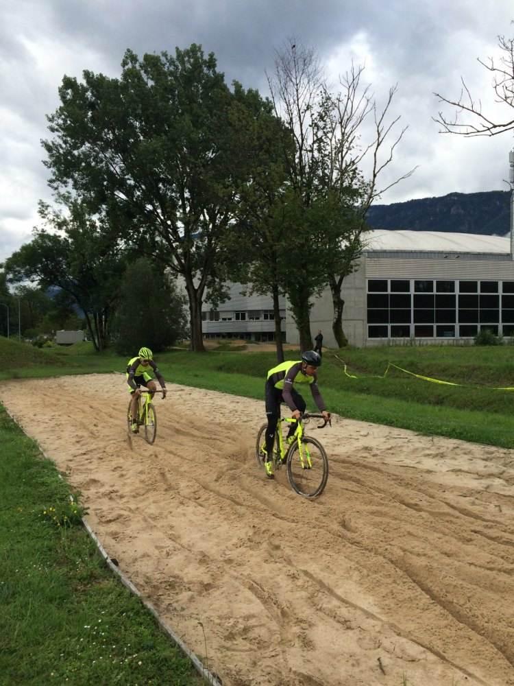 The two Svens tackle the sand at the UCI. UCI CX Training Camp 5.0. Photo courtesy Geoff Proctor.