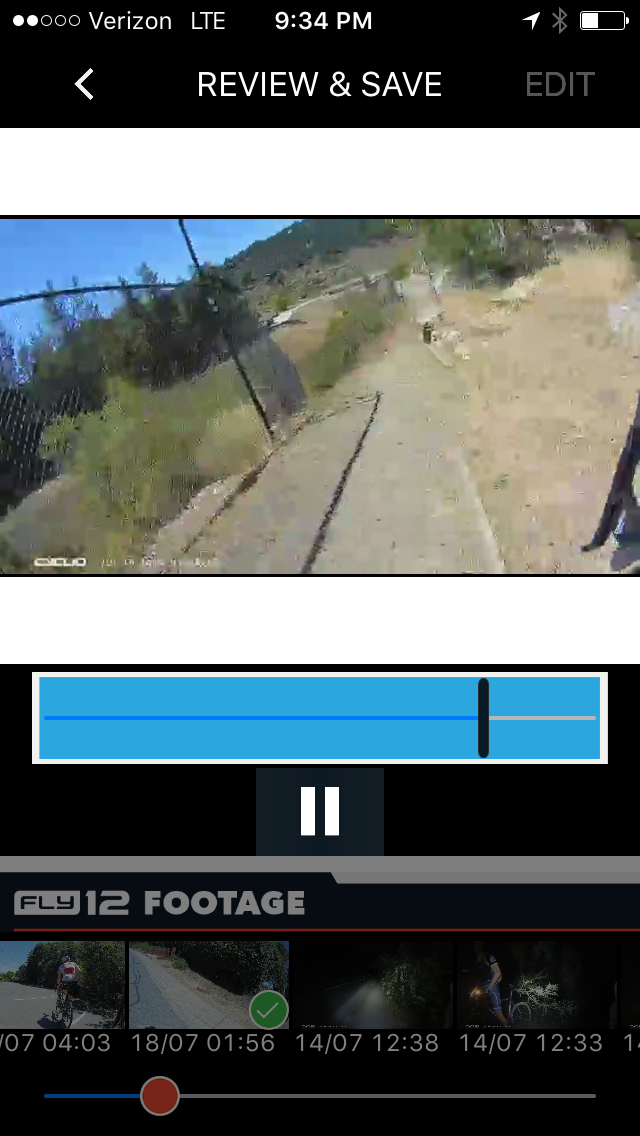 The Fly12 and Cycliq iPhone app lets you trim and save video segments to your phone, then share with your ride buddies.