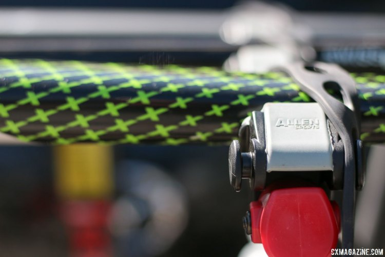 Allen Sports S535 Premier 3-bike hitch rack's cradle offers plenty of strapping options. © Cyclocross Magazine