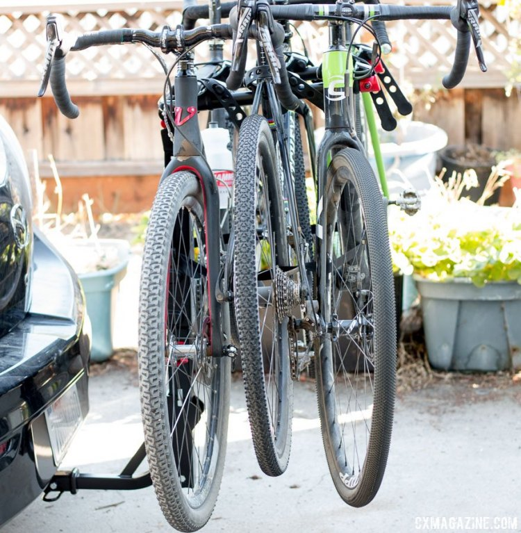 Allen Sports S535 Premier 3-bike hitch rack fits large drop bar bikes, without the frames touching. © Cyclocross Magazine