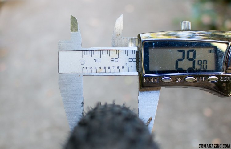 The new LT2 TLR tubeless gravel tire from Bontrager is listed at 32c, but measures just 29.9mm on a 17.5mm internal width rim. There's also a 38c version as well. © Cyclocross Magazine