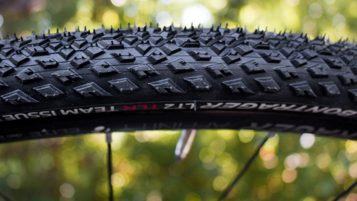 """The new LT2 TLR tubeless gravel tire from Bontrager is originally a hybrid tire, but the TLR Team Issue is intended for """"gravel, paths, roads, and alleys."""" © Cyclocross Magazine"""